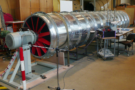 Own wind canel of Haegele GmbH for testing of Cleanfix reversible fans | © Hägele GmbH - Cleanfix